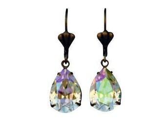 Luminous Green Swarovski Earrings, Luminous Green Teardrop Earrings, Sparkling Bridesmaid Earrings, Bridesmaid Crystal Earrings,