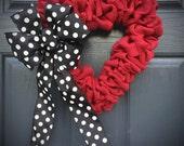Red Heart Wreath, Red Heart Decor, Love Gift, Valentines Day, Heart Decor, Heart Gifts, Heart Door Wreath, Burlap Heart, Polka Dots