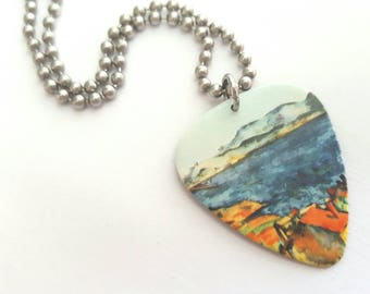 Cezanne Guitar Pick Necklace with Stainless Steel Ball Chain - French artist - fine art accessories - gift for artist