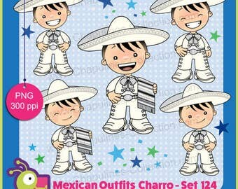 60% off Mexico Clipart, white and silver charro, mexican suit, mexican traditional outfit, Mexico clip art set 124