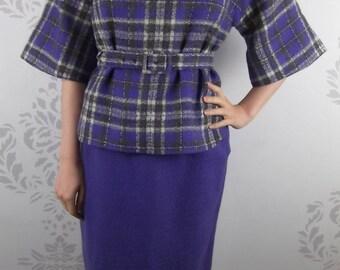 VINTAGE PURPLE SUIT 1960's Wool Plaid Skirt Top Belt Size Small
