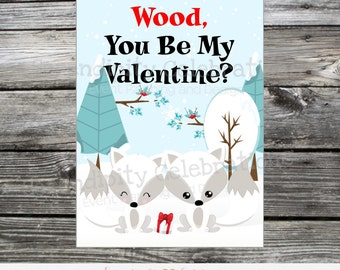 Instant Download, Fox Valentine Cards, Printable Valentine Card, Fox Valentine Stickers, Kids Valentine Cards, Wood you be my valentine