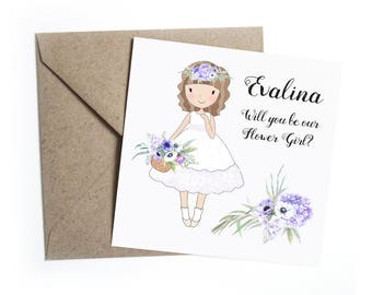 Will You Be My Flower Girl Card - Personalised Floral Anemone Wedding