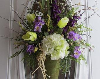 Hydrangea Wreath - Door Pocket Wreath - Spring / Summer Wreath -  Pail Wreath - Mothers Day Wreath - Front Door Decor - Easter Wreath