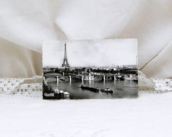 Vintage Mid Century French Black and White Postcard, Eiffel Tower and the river Seine with Barges Paris, Parisian, Retro Vintage Home