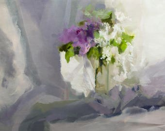 Horizontal Painting, Gift for Her Flower Painting of Lilacs Oil Painting Canvas Art, Original Floral Painting by Yuri Pysar