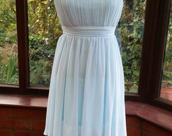 pale blue chiffon satin lined dress prom bridesmaid clubbing party evening cocktail cruise holiday dress  uk size10 usa size6