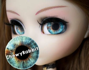 12, 13 & 14mm Glass Realistic Blue Brown Eyechips for Pullip Blythe Taeyang Dal Isul - handmade Eye Chips