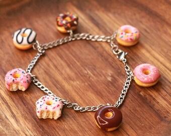 Donut Bracelet - donut charms, food jewelry, donut jewelry, miniature food, food bracelet, kawaii bracelet, birthday gift, gift