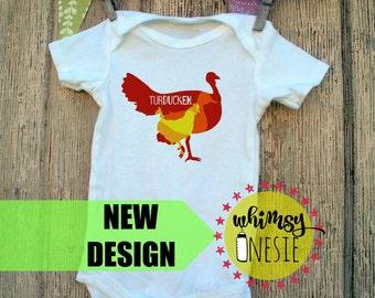 Turducken - funny Happy Thanksgiving baby onesie, turkey, duck, chicken food, foodie chef