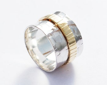 Unique Everyday Ring, Spinner Ring , Mixed Metals Ring, Sterling Silver and Gold Ring, Fiddle ring, Rolling Ring, Wide band Ring