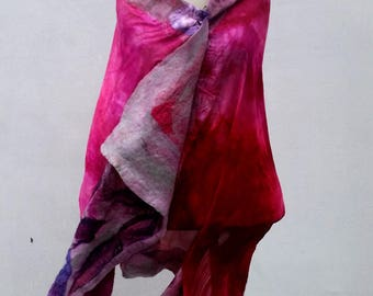 Stylish felted wool scarf in pink color great gift for mom done with nuno and wet felting and silk base its a must lightweight summer shawl.