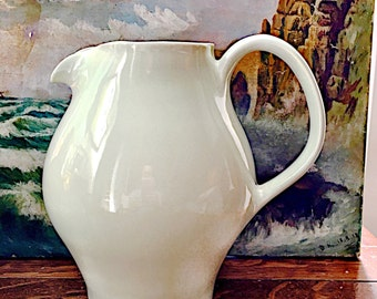 REDUCED Midcentury Russel Wright Iroquois Casual China Restyled Pitcher in Hard to Find Lettuce Green, 50's Russel Wright Pitcher Redesigned