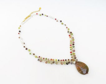 Brown Green stone necklace on gold silk thread, drop stone pendant, green brown necklace, agate