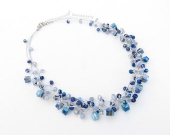 Blue stone necklace with crystal on silver silk thread, short necklace, navy blue, royal blue, gray