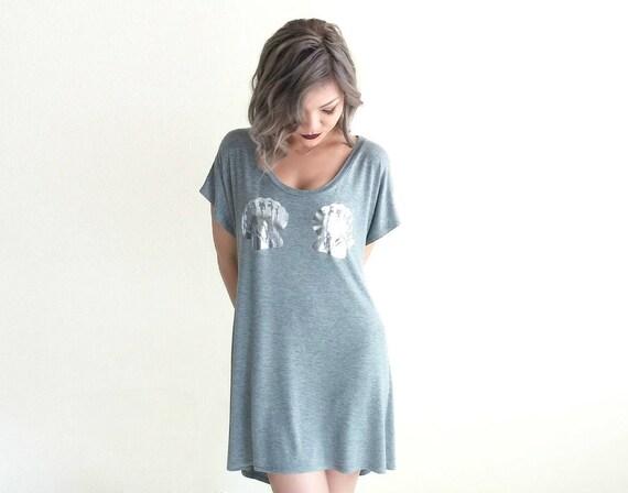 Mermaid High-Low TShirt Dress/Tunic / Heather Gray w/ Silver