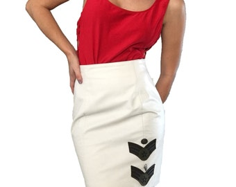 White Authentic Leather Pencil Skirt / Skirt with Patches / Military Patches / White Skirt/ Wilson Leather Skirt / White Pencil Skirt