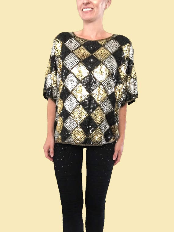 Sequin Blouse/ Vintage Sequin Blouse/ Black Sequin Top/ Silver Sequin Top/ Gold Sequin Top/ Checkered Sequin Blouse/ Gold Beaded Top / Silk