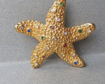 Vintage Signed Swarovski Multi Color Crystal Rhinestone Starfish Pin