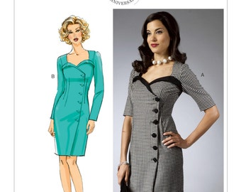 Butterick B5953 Misses' Vintage 1950s Style Wrap Dress with Neckline-Detail Sewing Pattern
