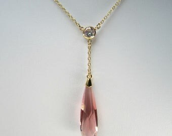 Adjustable Blush Rose Teardrop Y Necklace, Swarovski Crystal,14k Gold Filled,Bezel Set CZ, Delicate Bridal Necklace, Wedding Jewelry