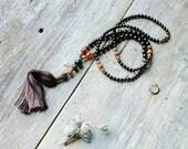 Beautiful jet mala necklace and bracelet