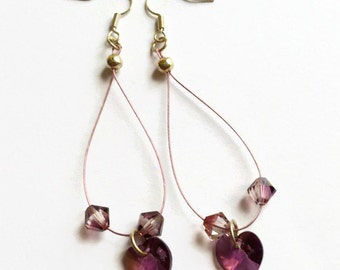 Purple Swarovski heart earrings, purple earrings, crystal heart drop earrings, unique earrings, silver hanging earrings, crystal earrings