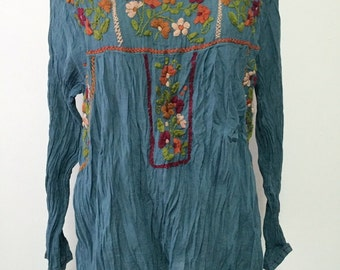 Hand Embroidered Blouse Cotton Top Long Sleeve Bohemian Style