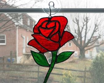 Red Rose Stained Glass Suncatcher - Rose Ornament - Mothers Day Gift - Anniversary Gift - Wedding Gift - Flower Suncatcher - Glass Flower