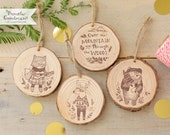 Set of 4 Ornaments - Hipster Woodland - Handmade Wood Christmas Ornaments