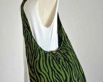 SALE 20% -- Hippie Crossbody Bag Boho Bag Cotton Shoulder Bag Diaper Bag Sling Bag Hobo Bag Handbags Messenger Bag Bohemian Bag, Green Zebra