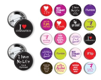 Gymnast Gymnastics Tumbling (set 3)  20 Pin Back Button Party Favors  1.25 inch Buttons Pin Magnets Student reward