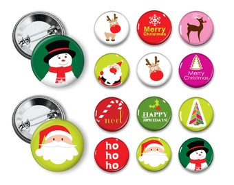 Mod Christmas Pins Santa Buttons 1.25 inch pinback buttons pins badges magnets Party favors