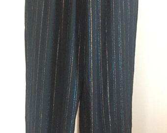 Vintage Black and Metallic Harem Pants