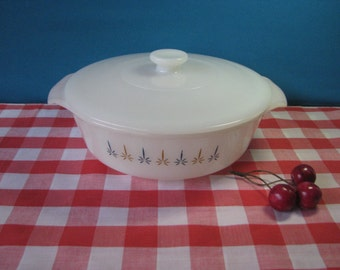 Fire King Anchor Hocking Casserole Dish - Candleglow - with Lid - 1.5 Quart  #437-  Mid Century Vintage 1950's