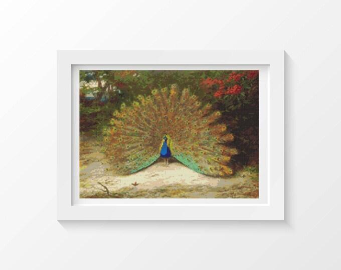 Cross Stitch Pattern PDF, Embroidery Chart, Art Cross Stitch, Peacock and Peacock Butterfly by Archibald Thorburn (THORB01)