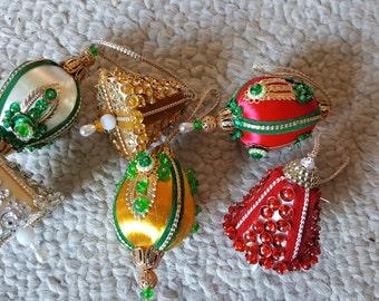 6 Vintage Christmas Ornaments Beaded Sequins 1970s FABULOUS