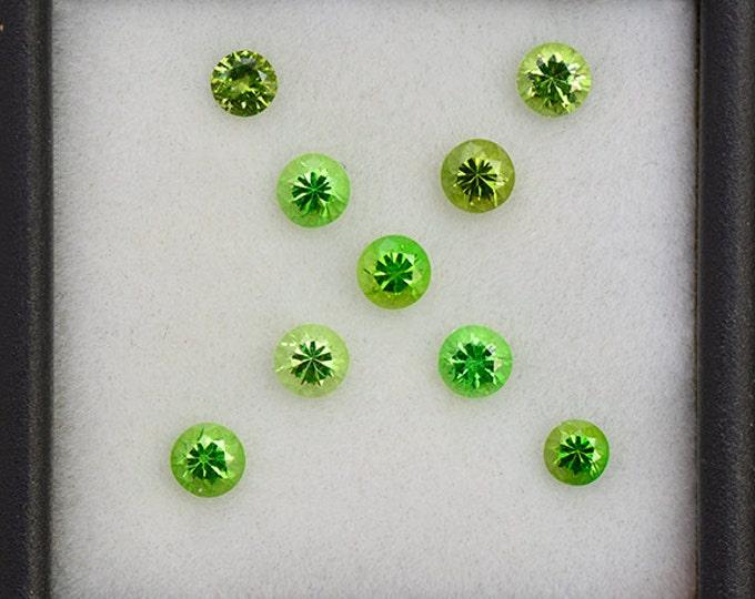 Stunning Neon Green Grossular Garnet Gemstone Set from Tanzania 1.63 tcw.