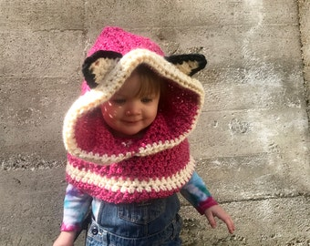 Pink Fox Hooded Cowl - Size 18 months to 3 years