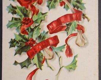 Christmas Postcard, 1906, Holly, Wishbone, Ribbon & Tassels, Antique