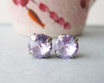 Violet Stud Earrings Lavender Bridesmaid Purple Post Earrings Swarovski Elements Spring Wedding Jewelry Rhinestone Studs Choice of Metal