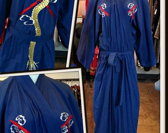 Vintage Blue Kimono Dragon Embroidery Cotton Long Japanese FREE SHIPPING