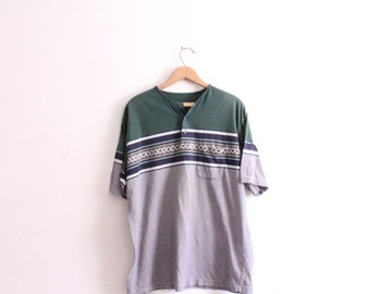 Striped 90s Dad Button Tee