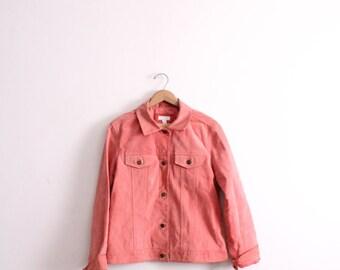 Minimal Salmon Pink Suede 90s Jacket