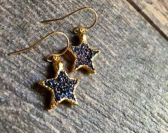 Druzy Earrings,Druzy Star Earrings,Star Earrings Gold,Gold Druzy Star Earrings,Druzy Jewelry,Blue Druzy Earrings,Denim Druzy Star Dangles