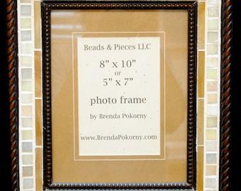 "Ivory & Caramel Large 5"" x 7"" or 8"" x 10"" Mosaic Photo Wall Frame  MOF1454"