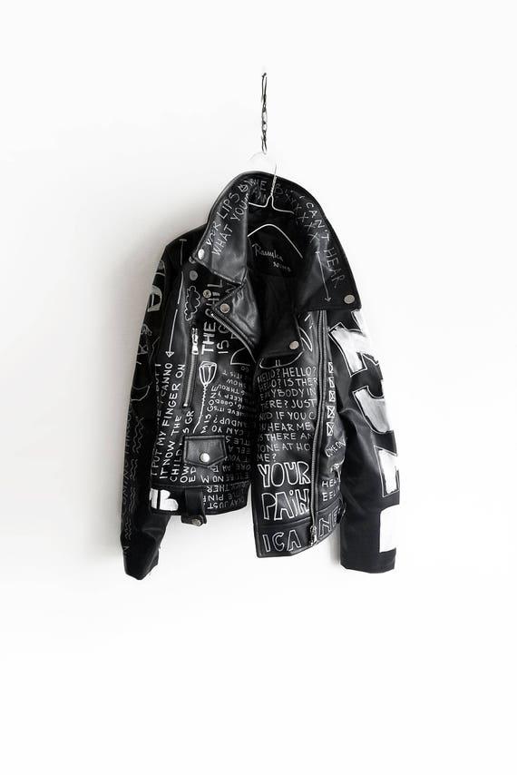 Hand Painted Jacket Black Punk Jacket Vegan Leather Unisex