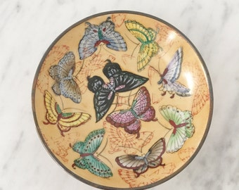 Chinese Bowl, Asian Butterfly Bowl, Asian Porcelain Wall Hanging, Chinoiserie, Blue Yellow