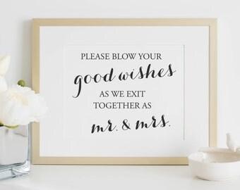Wedding Sign - Bubble Sign - Wedding Bubble Sign - Wedding Signs - Blow Bubbles - Wedding Bubbles - 8 x 10 - Bubble Send Off