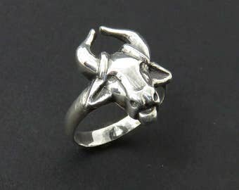 Taurus Ring - Sterling Silver Ox Ring - Bull Ring - Astrology Ring - Zodiac Ring - Totem Ring - Pagan Ring - Gift for Him - Chinese Zodiac